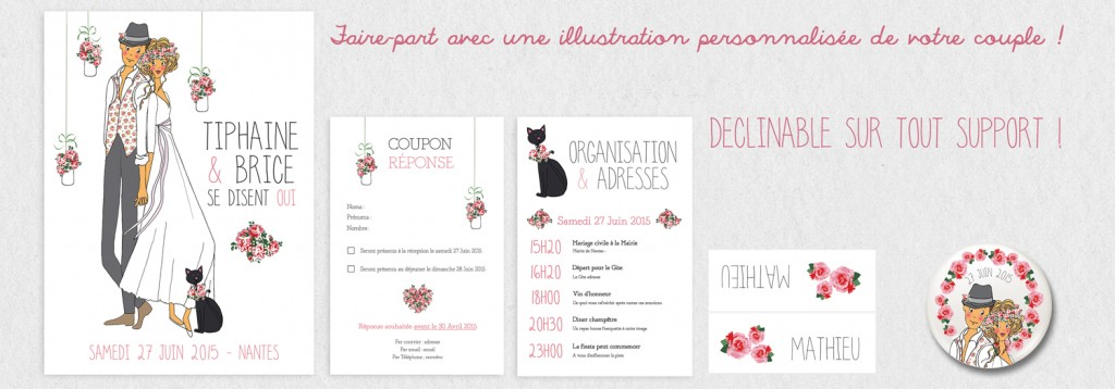 Illustration faire-parts mariage
